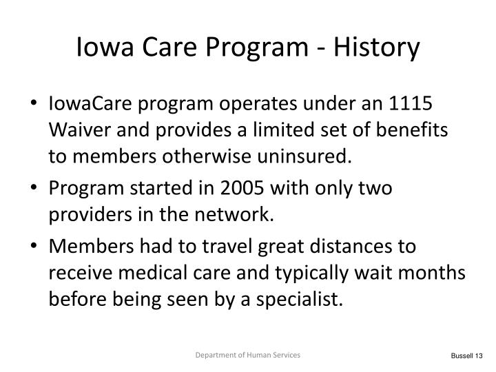 Iowa Care Program - History
