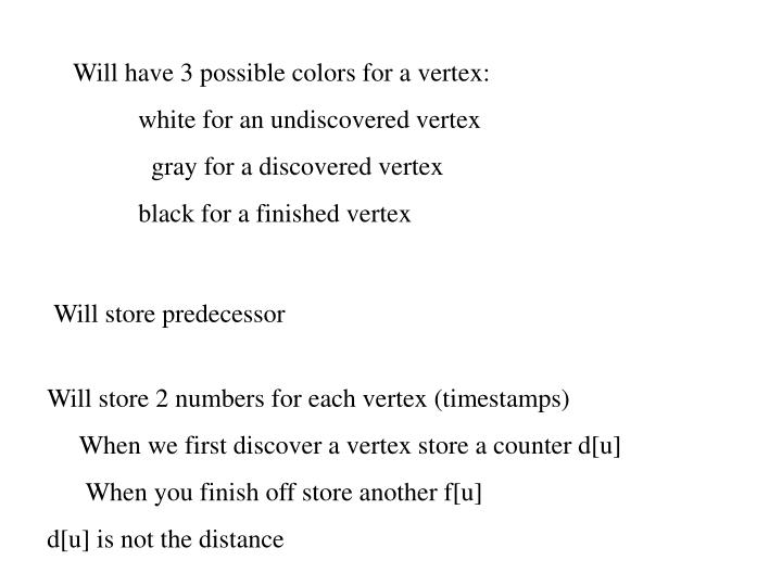 Will have 3 possible colors for a vertex: