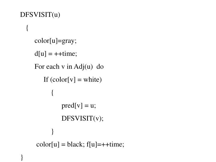 DFSVISIT(u)