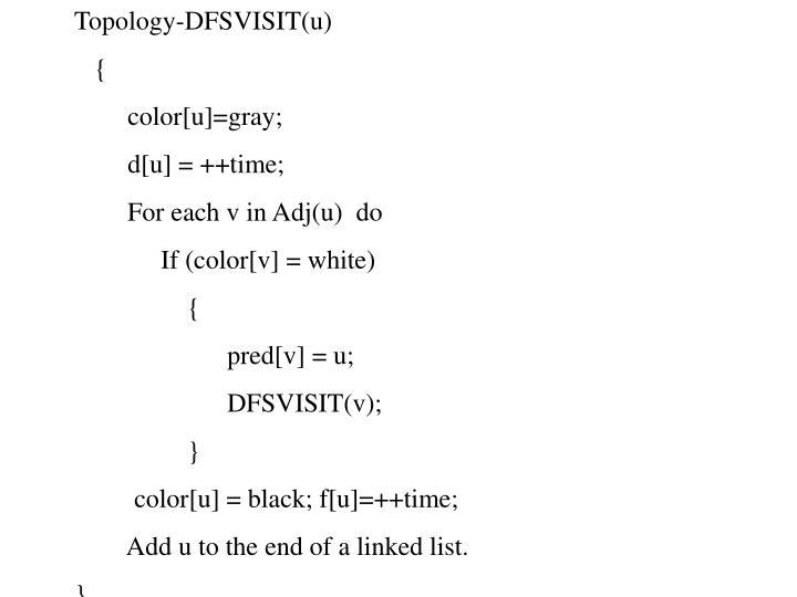 Topology-DFSVISIT(u)