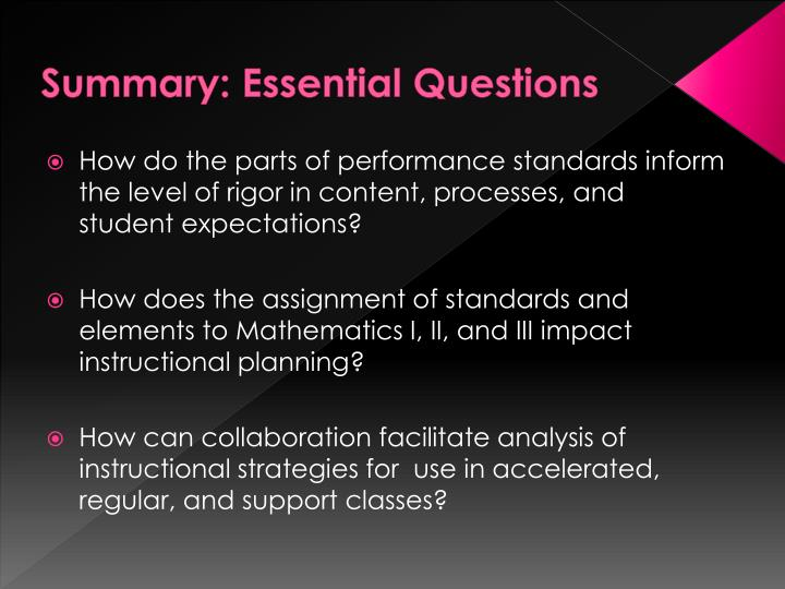 Summary: Essential Questions