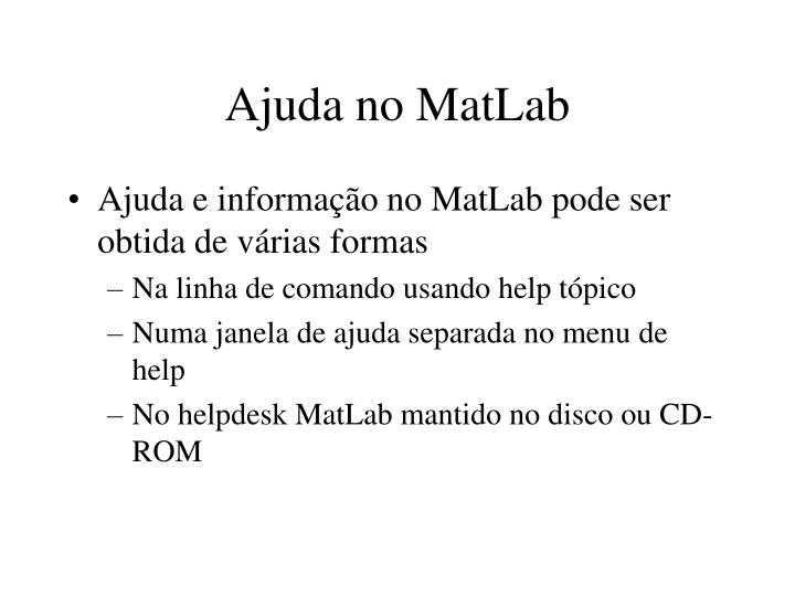 Ajuda no MatLab
