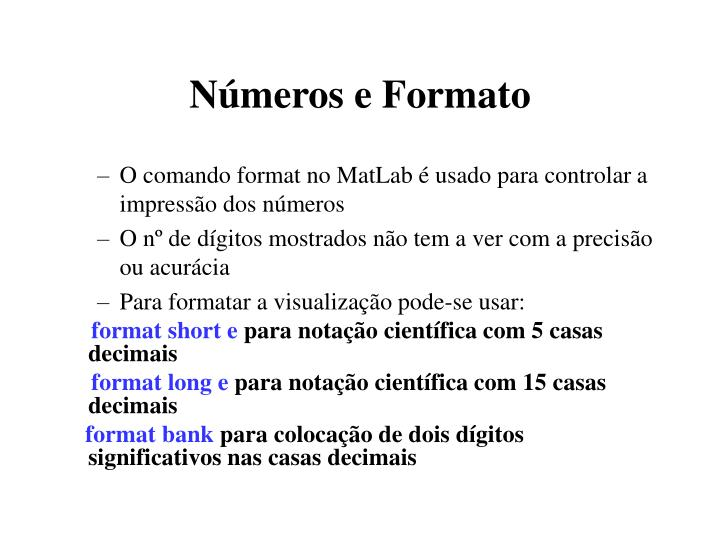 Números e Formato