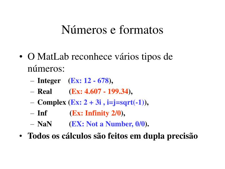 Números e formatos