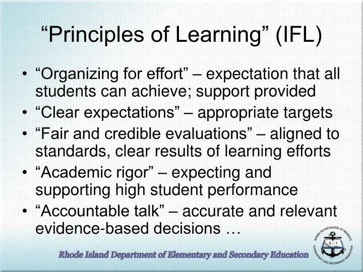 """""""Principles of Learning"""" (IFL)"""