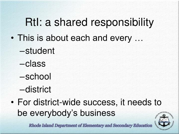 RtI: a shared responsibility