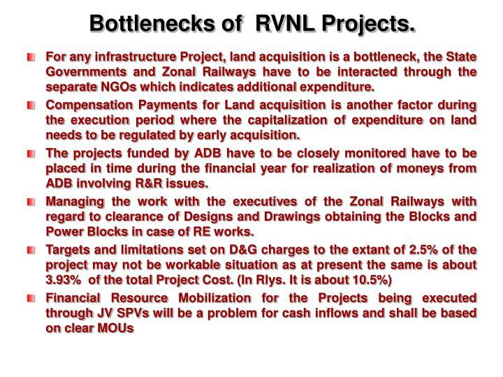 Bottlenecks of  RVNL Projects.