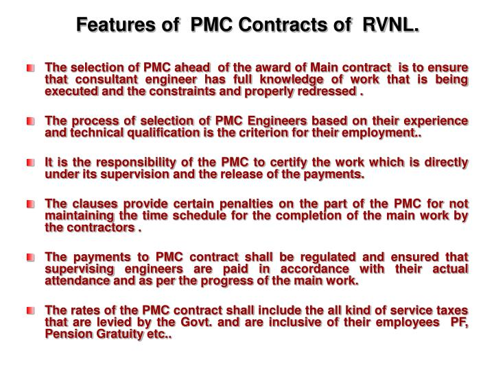 Features of  PMC Contracts of  RVNL.