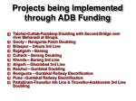 projects being implemented through adb funding