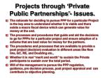 projects through private public partnerships issues