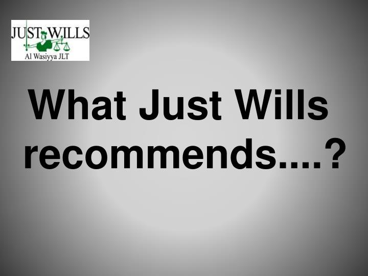 What Just Wills recommends....?
