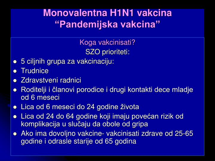 Monovalentna H1N1 vakcina