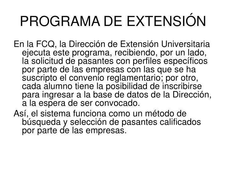 PROGRAMA DE EXTENSIÓN