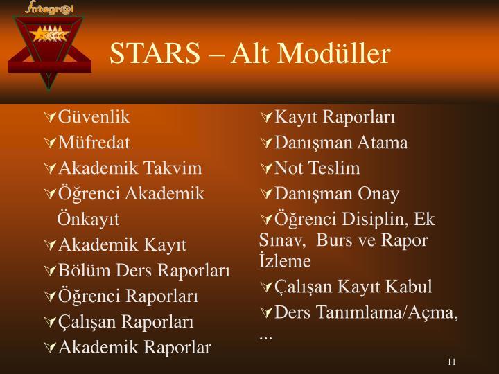 STARS – Alt Modüller