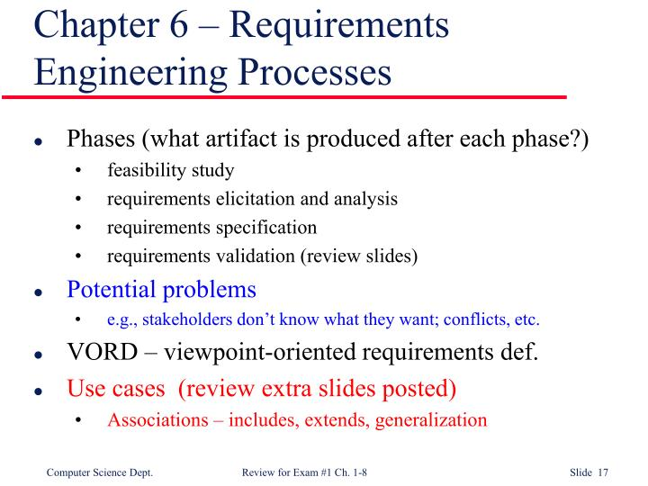Chapter 6 – Requirements Engineering Processes