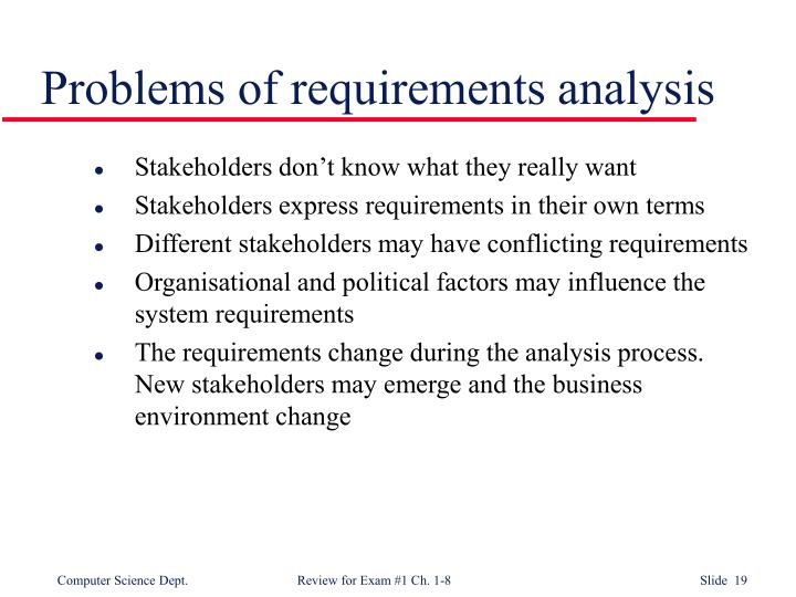 Problems of requirements analysis
