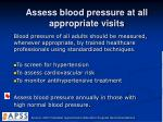 assess blood pressure at all appropriate visits