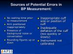 sources of potential errors in bp measurement1