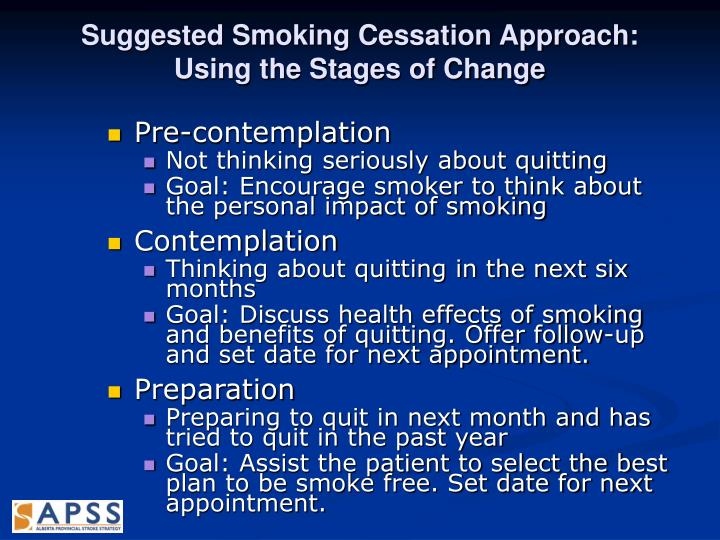 Suggested Smoking Cessation Approach: