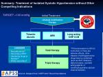 summary treatment of isolated systolic hypertension without other compelling indications
