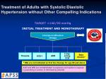 treatment of adults with systolic diastolic hypertension without other compelling indications