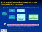 treatment of hypertension in association with diabetes mellitus summary