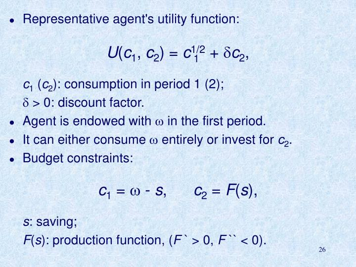 Representative agent's utility function: