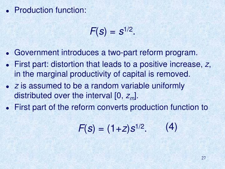 Production function: