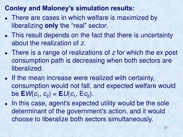 Conley and Maloney's simulation results: