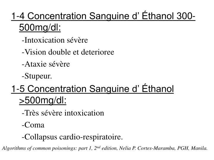 1-4 Concentration Sanguine d' Éthanol 300-500mg/dl: