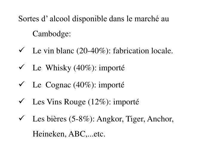 Sortes d' alcool disponible dans le marché au Cambodge: