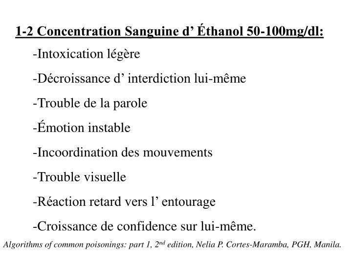 1-2 Concentration Sanguine d' Éthanol 50-100mg/dl: