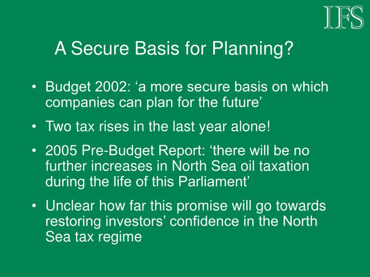 A Secure Basis for Planning?