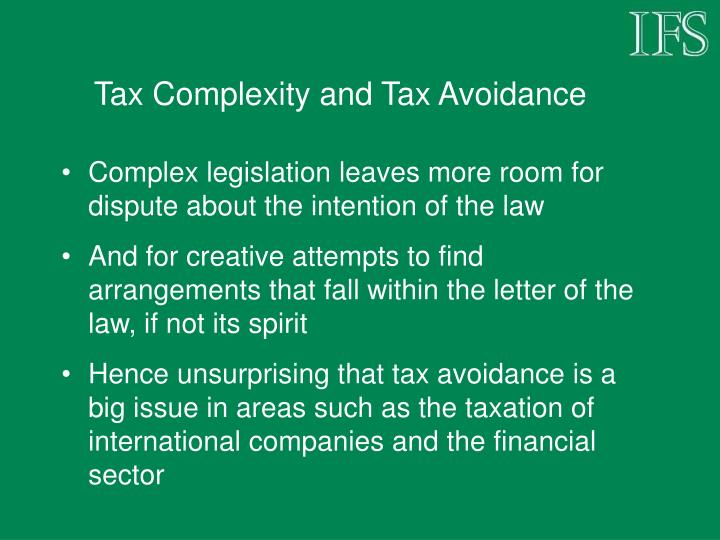 Tax Complexity and Tax Avoidance