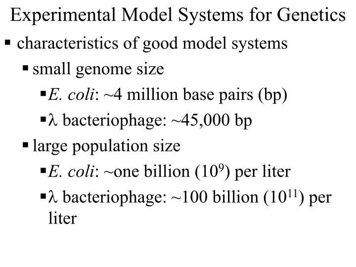 Experimental model systems for genetics