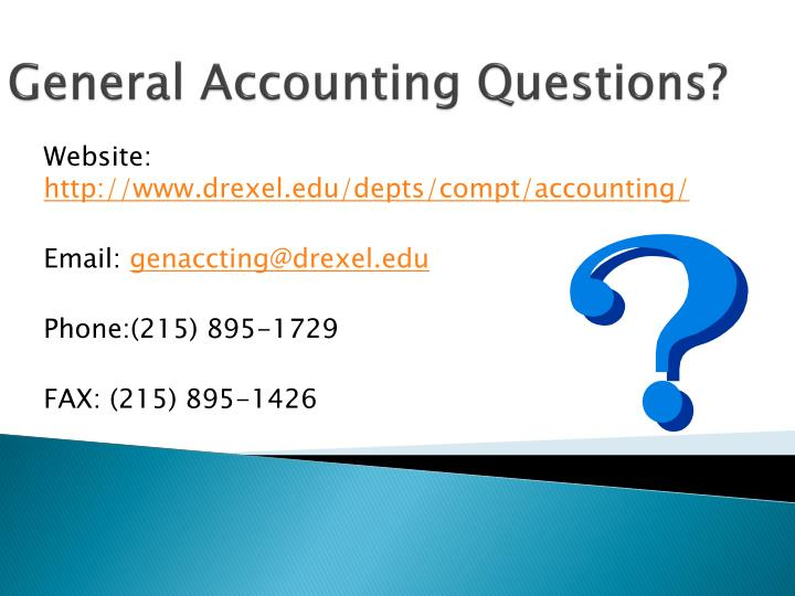 General Accounting Questions?