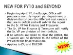 new for fy10 and beyond