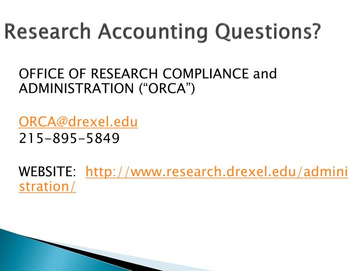 Research Accounting Questions?