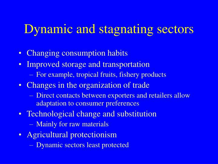 Dynamic and stagnating sectors