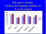the gap is closing yield in developing countries in of developed