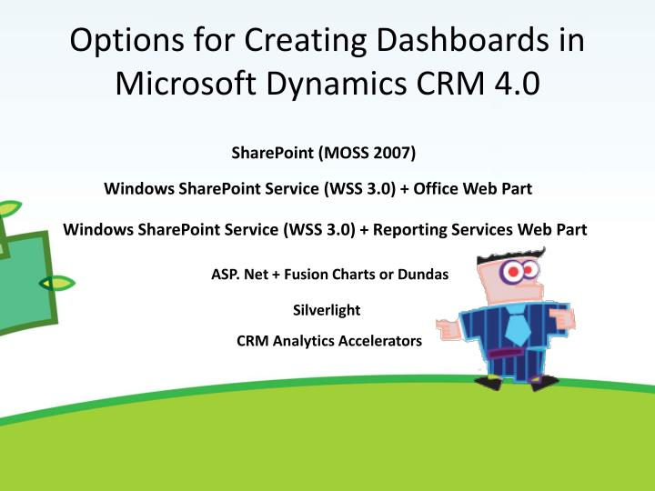 Options for creating dashboards in microsoft dynamics crm 4 0