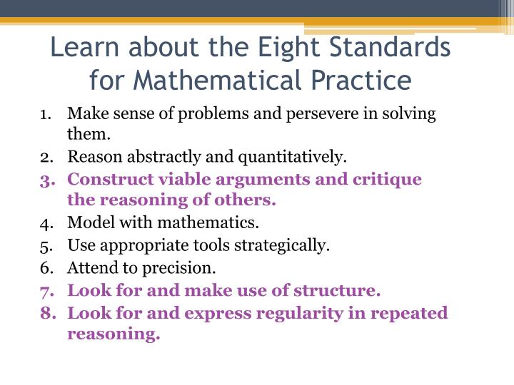 Learn about the Eight Standards