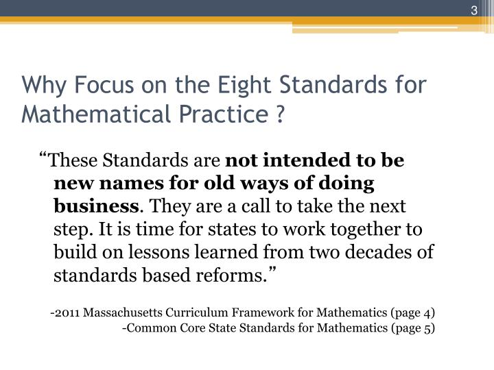 Why focus on the eight standards for mathematical practice