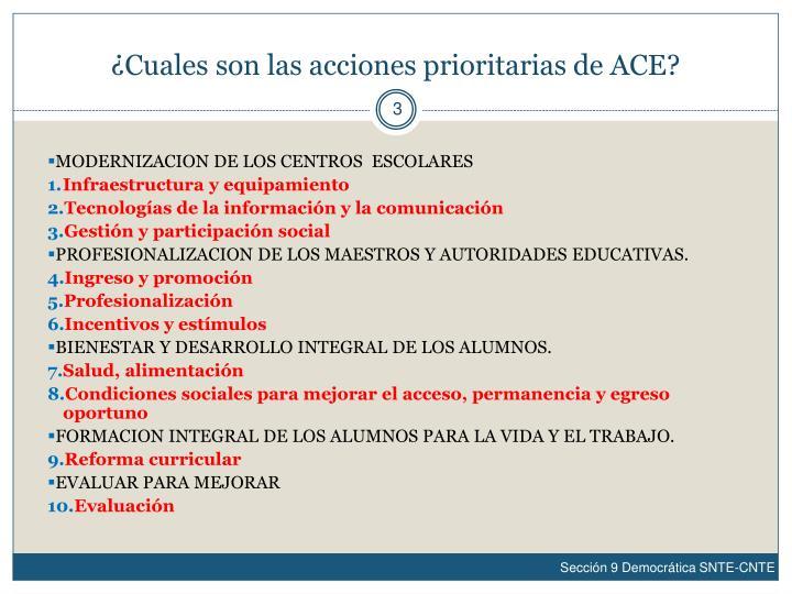 ¿Cuales son las acciones prioritarias de ACE?