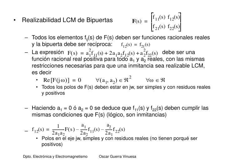 Realizabilidad LCM de Bipuertas