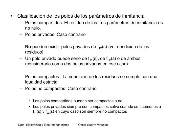 Clasificación de los polos de los parámetros de inmitancia