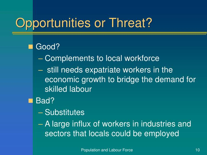 Opportunities or Threat?