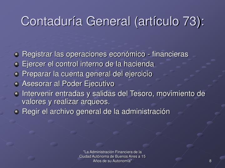 Contaduría General (artículo 73):