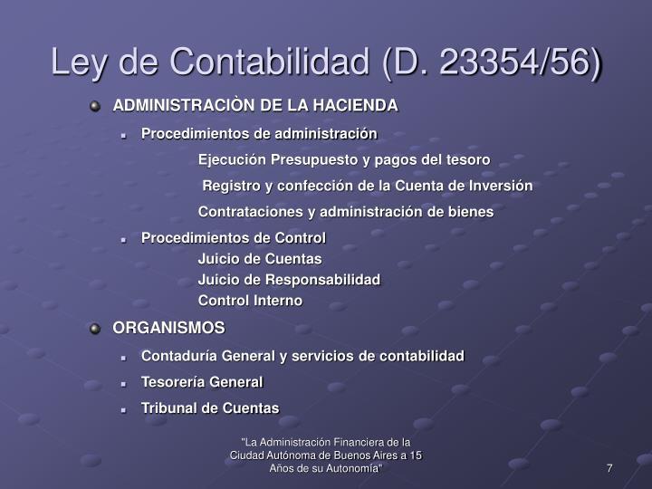 Ley de Contabilidad (D. 23354/56)