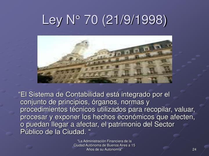 Ley N° 70 (21/9/1998)
